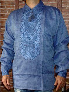 Vyshyvanka mens Ukrainian Embroidered shirt Blue Linen Slavic Wedding Wear 2XL…