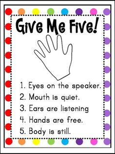 "by Tanya Rae Teaches Pre-Kindergarten - 5th Grade Here is a cute ""Give Me Five Poster"" to use with your classroom. It's always importa..."