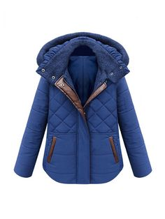 Hooded Collar Zipper Thicken Long Sleeve Padded Coat
