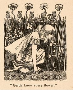 """""""Gerda knew every flower"""", illustration by Helen Stratton for """"The Snow Queen,"""" from Fairy tales of Hans Andersen, illustrated by Helen Stratton Art And Illustration, Gravure Illustration, Illustrations, Art Inspo, Art Nouveau, Art Deco, Arte Indie, Drawn Art, Fairytale Art"""