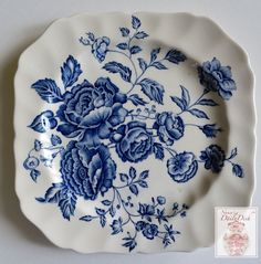 Vintage Ble Toile Transferware Square Plate English Country Roses