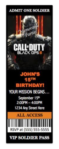 8-Pk-Call-of-Duty-III-3-BLACK-OPS-Birthday-Party-Invitations-w-Envelopes-CUSTOM