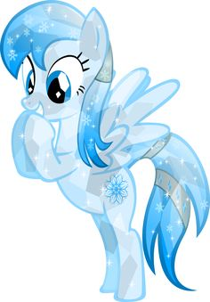 This is Frozen Snowflake she is 17 years old and is a crystal pony. Her little sister is Snowdrop. She is so exited to be a animal foster , she loves dogs. She is also good at freezing things.