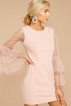 Gorgeous Pink Long Sleeve Dress - Short Pink Lace Dress - Dress - $52 – Red Dress Boutique