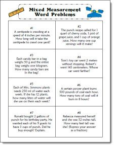 Mixed Measurement Word Problem Task Cards for cooperative learning activities