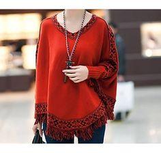 Women's Casual Red Wool Tassel Cloak