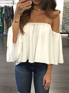 01ec9f7aa2b Fashion Women Off Shoulder Top Long Sleeve Pullover Casual Blouse Hals  Langarm Chiffon Schulter Bluse 2017 Fashion New