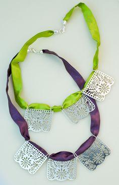 """""""Papel Picado"""" silver and silk necklace"""