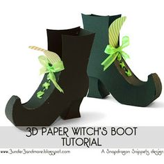 "3D Paper Witch's Boot Tutorial. Add ""trick or treat smell my feet"" and fill with candy."