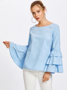 Tiered Trumpet Sleeve Pearl Embellished Blouse -SheIn(Sheinside)