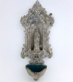 French Vintage Silver Metal Benitier/Holy by FrenchReligiousFinds, $65.00