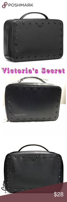 "Victoria's Secret Jetsetter Travel Case New! Jetsetter Travel Case Black POP Heart   * Get away with more: this soft train case has an interior mesh zip pocket and 2 separate beauty bags that fit right inside. * 		 * Includes travel case and 2 beauty bags:  * Perfect for lotions, mists, hair products, jewelry and other beauty essentials * Travel case has interior mesh pocket with zip closure * Small beauty bags have zip closure * Travel case: 10""L x 3½""W x 7""H * Small beauty bags: 6""L x 3""W…"