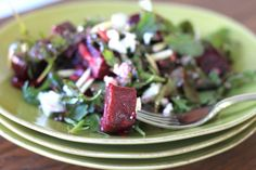 beet and goat cheese arugula salad I used jarred beets the first time. looking forward to the roasted version.