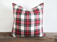 Red and white tartan pillow, plaid pillow, classic Christmas decor, Christmas living room decor