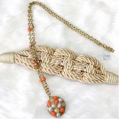 NWT Lia Sophie Coral & Gold Necklace Hello summer! These bright colors add a little something special this season - sweater length chain, no flaws. Lia Sophia Jewelry Necklaces