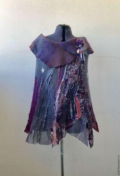 """Купить Валяный жилет """"Городские Цветы"""" - серый, абстрактный, валяный жилет, войлочный жилет"""