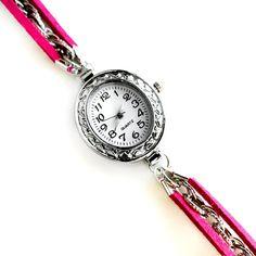 Silver Oval Fuchsia Pink Suede Bracelet Watch  www.etsy.com/shop/wflead  www.etsy.com/shop/Xiaostop
