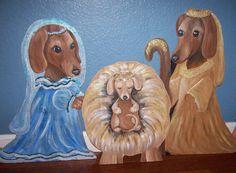 Life Size Weenie Dog Christmas Nativity Set Yard Art by DanaTebbs, $150.00