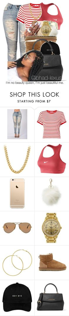 beauty ✔ by bhad-lexus ❤ liked on Polyvore featuring Miss Selfridge, NIKE, Charlotte Russe, Ray-Ban, Piaget, Melissa Odabash, UGG Australia and MICHAEL Michael Kors