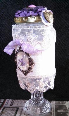 Purple & Lace Vintage Altered Jar - Scrapbook.com