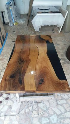 CUSTOM ORDER for michelle epoxy special table,luxry furniture,river table,resin table Wood Crafts Furniture, Resin Furniture, Diy Wood Projects, Epoxy Resin Table, Wood Resin, Wood Slab, Walnut Wood, Epoxy Table Top, Cool Tables
