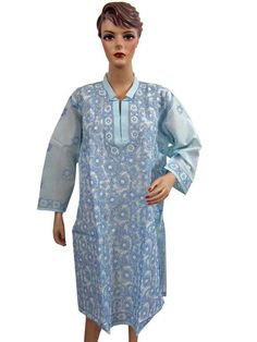 New Designer Long Embroidered Kurtis Sky Blue Cotton Dress Long Tunic Tops XL | eBay $34.99