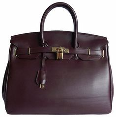 Carbotti Designer Style Burgundy Leather Handbag