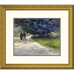 Global Gallery 'Public Garden with Couple and Blue Fir Tree' by Vincent Van Gogh Framed Painting Print Size:
