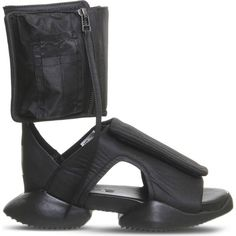 ADIDAS X RICK OWENS Rick Owens x Adidas Cargo sandals (465 AUD) ❤ liked on Polyvore featuring shoes, sandals, black mono, zipper sandals, zipper shoes, adidas, open toe sandals and black rubber sole shoes