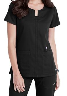 The notched neck scrub top (In Romance) will make a wonderful addition… Healthcare Uniforms, Medical Uniforms, Work Uniforms, Spa Uniform, Scrubs Uniform, Vet Scrubs, Medical Scrubs, Scrubs Outfit, Iranian Women Fashion