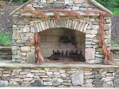 """""""outdoor fireplace"""" corner designs   outdoor fireplace 25 Fascinating Stacked Stone Fireplace Designs"""
