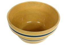 """Blue & White Yellow Ware Bowl  7.5"""" W x 4.5"""" H  Sold for  $125.00 on OKL"""