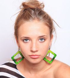 Geometric Earrings  Green Leaves  Summer Fashion by Nechegonadet, $45.00