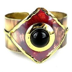 Onyx and Brass Copper Cuff Handmade and Fair Trade