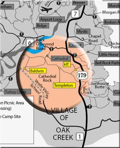 Map showing the Templeton, Baldwin, HT Trails in Sedona