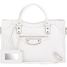 Balenciaga Women's Metallic Edge City (3,680 BAM) ❤ liked on Polyvore featuring bags, handbags, balenciaga, white bags, colorless, white handbags, strap purse, clear handbags, white studded handbag and balenciaga handbags