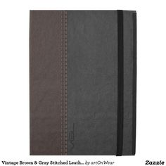 Vintage Brown & Gray Stitched Leather