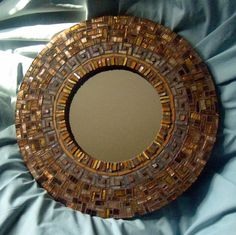 Diy...Round Mosaic Mirror in Ochre and Copper. $285.00, via Etsy.