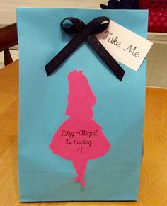 Alice in wonderland favor bags personalized by LoveToFiesta