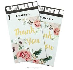25 10x13 Poly Mailers Thank You White Pink Flowers Roses by LesTroisJ on Etsy Purchase Card, Thank You Photos, Shipping Supplies, I Work Hard, Business Card Size, Pink Stripes, All Sale, Floral Flowers, Card Sizes