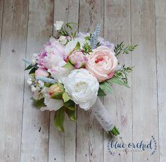 Silk Wedding Bouquet Bridal Bouquet Rose Peony Hydrangea Boho Wedding Shabby Chic Bouquet Peony Bouquet Blush Lavender Pink by blueorchidcreations on Etsy