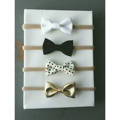 Baby Headbands | Small Bows | Nylon Headbands | Baby Bows | Gold, black, white, polkadots. by KatesBowsShop on Etsy https://www.etsy.com/listing/262276637/baby-headbands-small-bows-nylon
