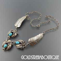 NATIVE AMERICAN ELLA COWBOY NAVAJO STERLING SILVER TURQUOISE FEATHER SOUTHWESTERN NECKLACE 19.25""