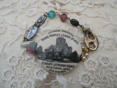 CHURCH vintage assemblage bracelet unique ooak by lilyofthevally, $35.00