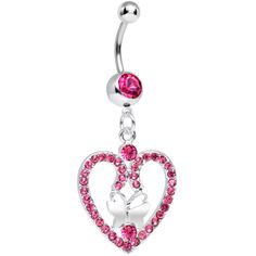 Pink Gem Heart Wreathed Butterfly Dangle Belly Ring | Body Candy Body Jewelry