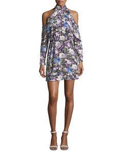 Parker Noemi High Halter-Neck Floral-Print Mini Dress