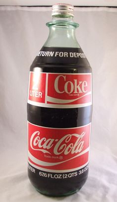 Vintage 1970 Coke Coca Cola 2 liter Glass ACL New Bottle Full