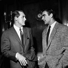 thejauntyflaneur: Cary Grant & Sean Connery, 1957  voxsart:  Time To Break The Internet. Cary Grant and Sean Connery, 1957.  By Jove and by Gad! Two very different styles, each eminently suitable! There are cues and tips aplenty in this image for chaps wanting either formal or casual dress.