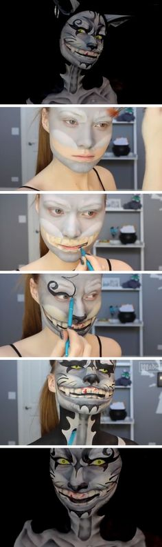 Cheshire Cat Makeup Tutorial | Click Pic for 22 Easy DIY Halloween Costumes for Women 2014 | Last Minute Halloween Costumes for Women