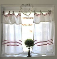 As the window here is small,  a short treatment would be more appropriate than long to suit the proportion and position of the window. It looks as if it may be in a cottage and the simple clip-on heading creates an informal look.